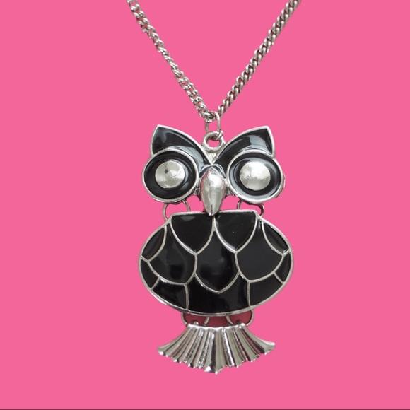 H&M Black Owl Necklace